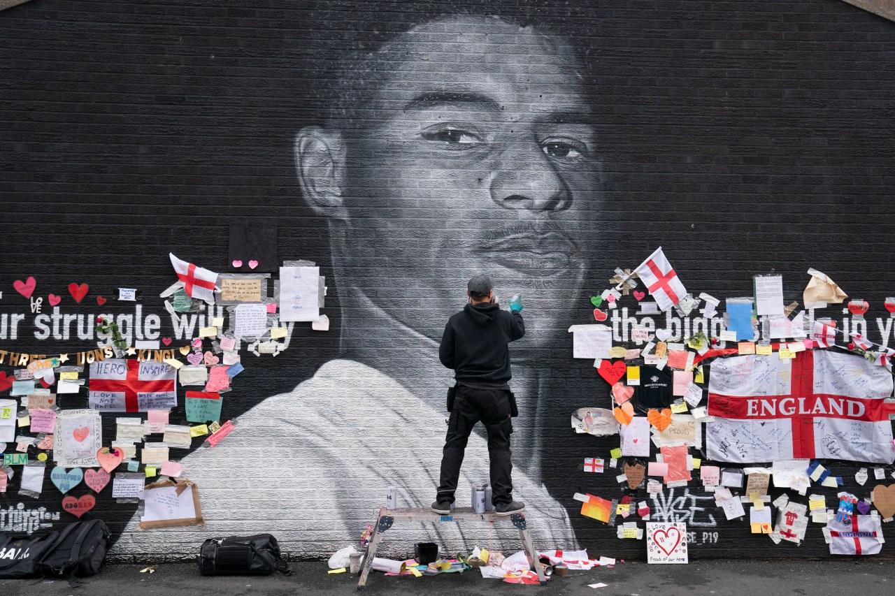 Mural in soccer star's hometown becomes anti-racism symbol